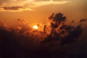 Sonnenuntergang über den Alpen
