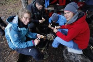 Pilze putzen und schnibbeln