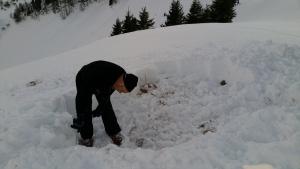 Schneesteine aussägen zum Iglubau