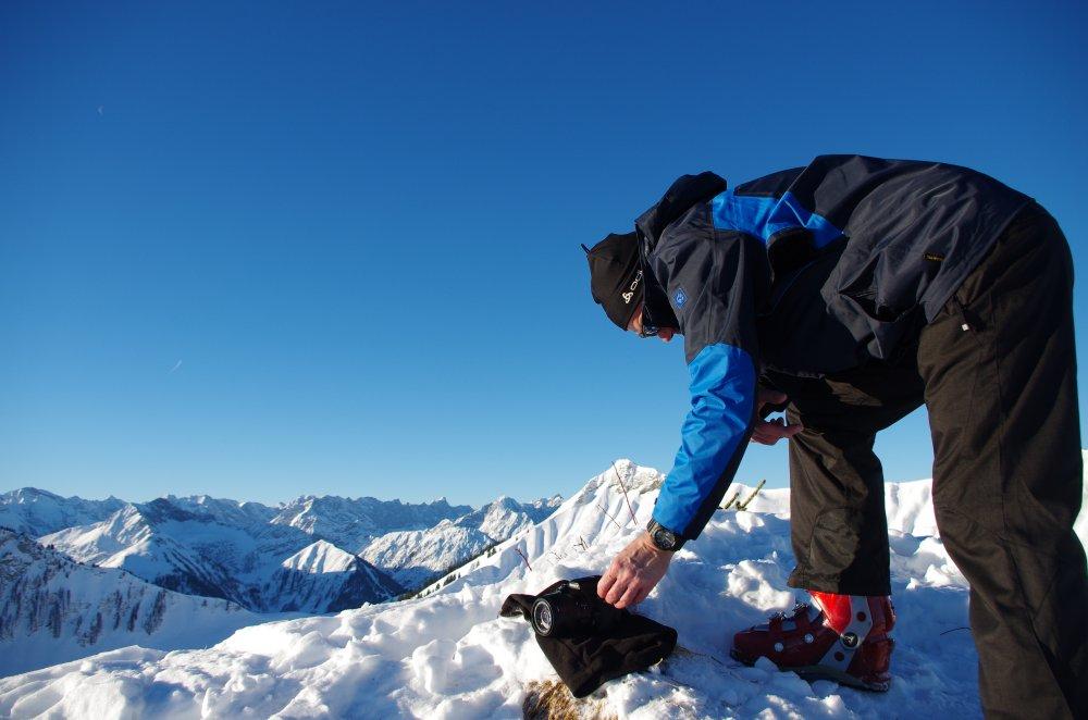 Vorbereitung zum Gipfelfoto