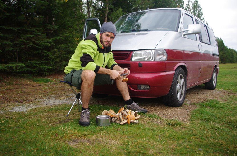 Pilze putzen vor dem Bulli in Norwegen